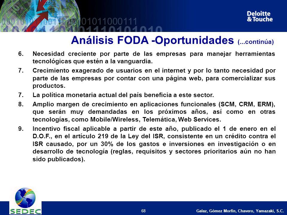 Galaz, Gómez Morfín, Chavero, Yamazaki, S.C. 68 Análisis FODA -Oportunidades (...continúa) 6.Necesidad creciente por parte de las empresas para maneja