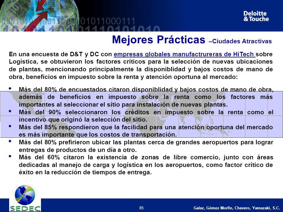 Galaz, Gómez Morfín, Chavero, Yamazaki, S.C. 85 En una encuesta de D&T y DC con empresas globales manufactrureras de HiTech sobre Logística, se obtuvi
