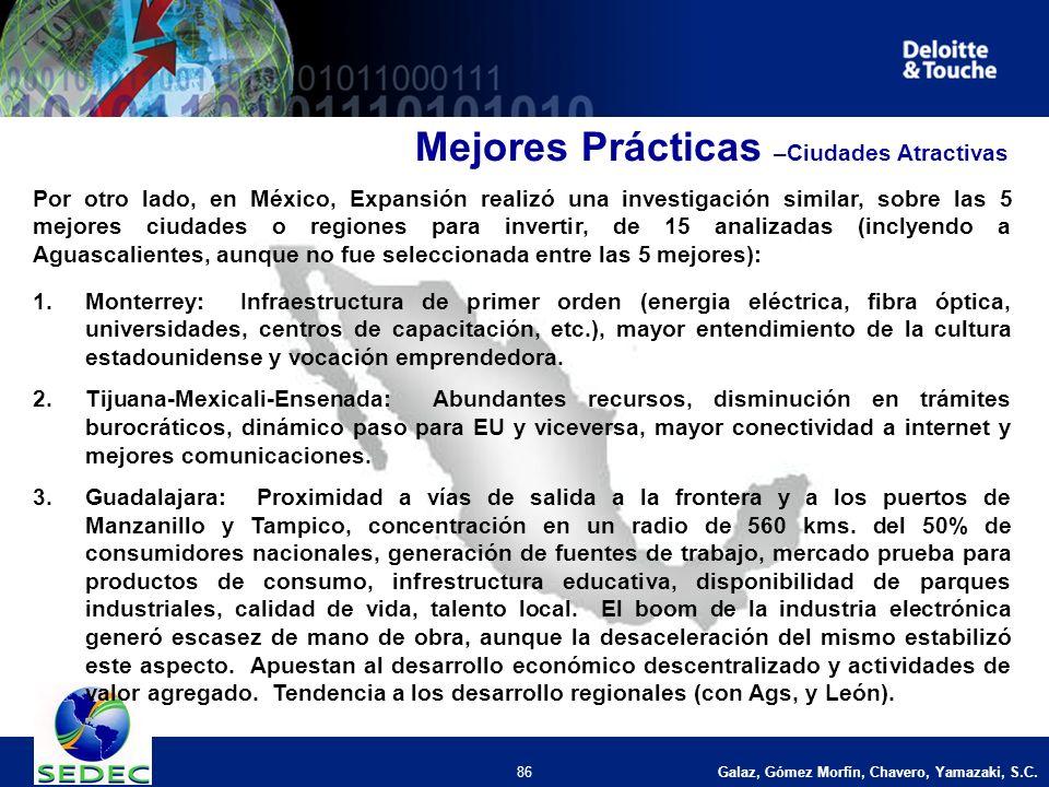 Galaz, Gómez Morfín, Chavero, Yamazaki, S.C. 86 Por otro lado, en México, Expansión realizó una investigación similar, sobre las 5 mejores ciudades o
