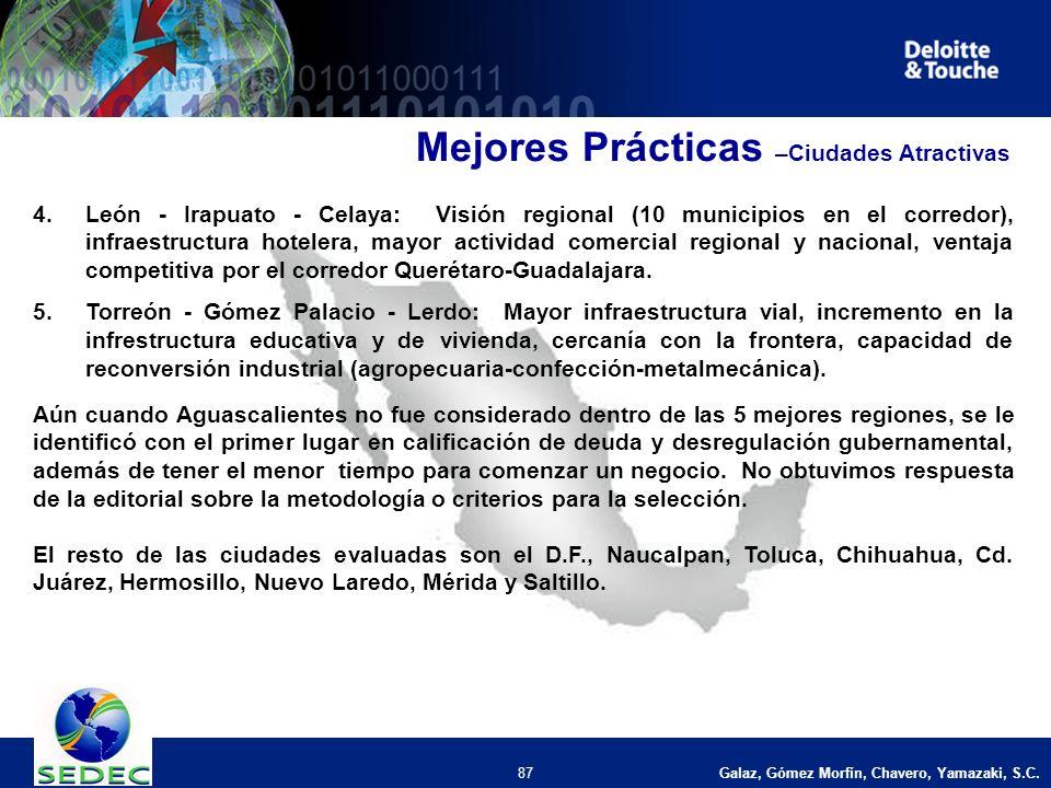Galaz, Gómez Morfín, Chavero, Yamazaki, S.C. 87 4.León - Irapuato - Celaya: Visión regional (10 municipios en el corredor), infraestructura hotelera,