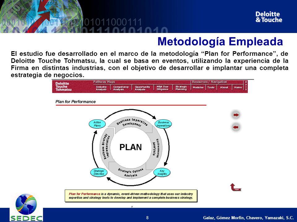 8 Metodología Empleada El estudio fue desarrollado en el marco de la metodología Plan for Performance, de Deloitte Touche Tohmatsu, la cual se basa en eventos, utilizando la experiencia de la Firma en distintas industrias, con el objetivo de desarrollar e implantar una completa estrategia de negocios.