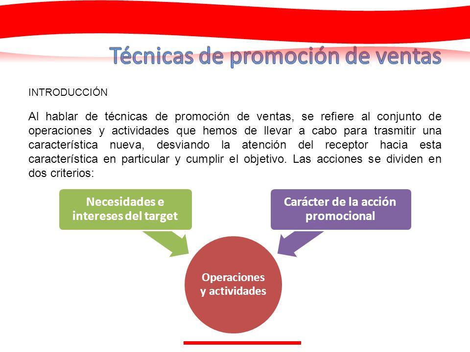 INTRODUCCIÓN Al hablar de técnicas de promoción de ventas, se refiere al conjunto de operaciones y actividades que hemos de llevar a cabo para trasmit