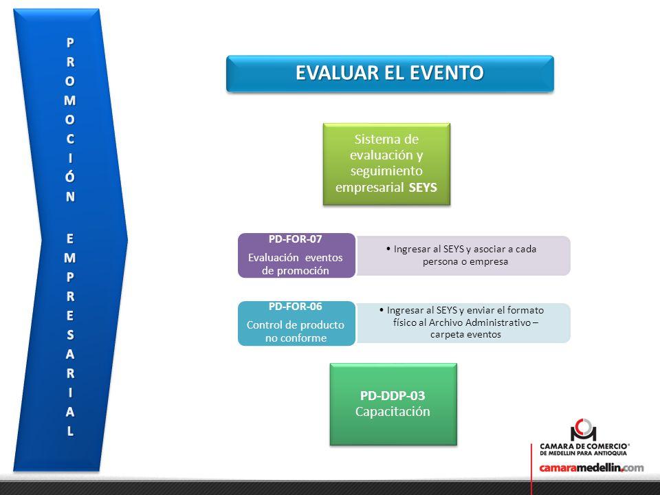EVALUAR EL EVENTO Ingresar al SEYS y asociar a cada persona o empresa PD-FOR-07 Evaluación eventos de promoción Ingresar al SEYS y enviar el formato f