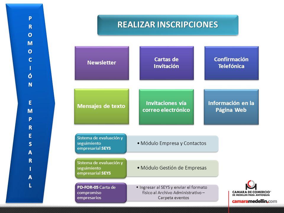 REALIZAR INSCRIPCIONES Módulo Empresa y Contactos Sistema de evaluación y seguimiento empresarial SEYS Módulo Gestión de Empresas Sistema de evaluació