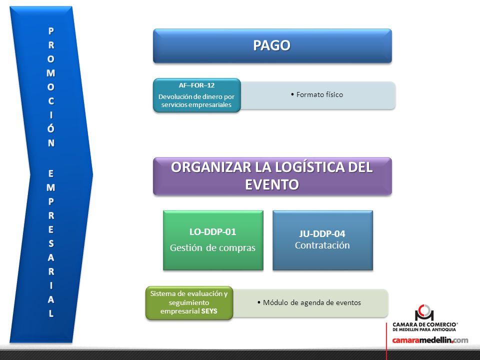 PAGOPAGO Formato físico AF–FOR–12 Devolución de dinero por servicios empresariales ORGANIZAR LA LOGÍSTICA DEL EVENTO LO-DDP-01 Gestión de compras JU-D