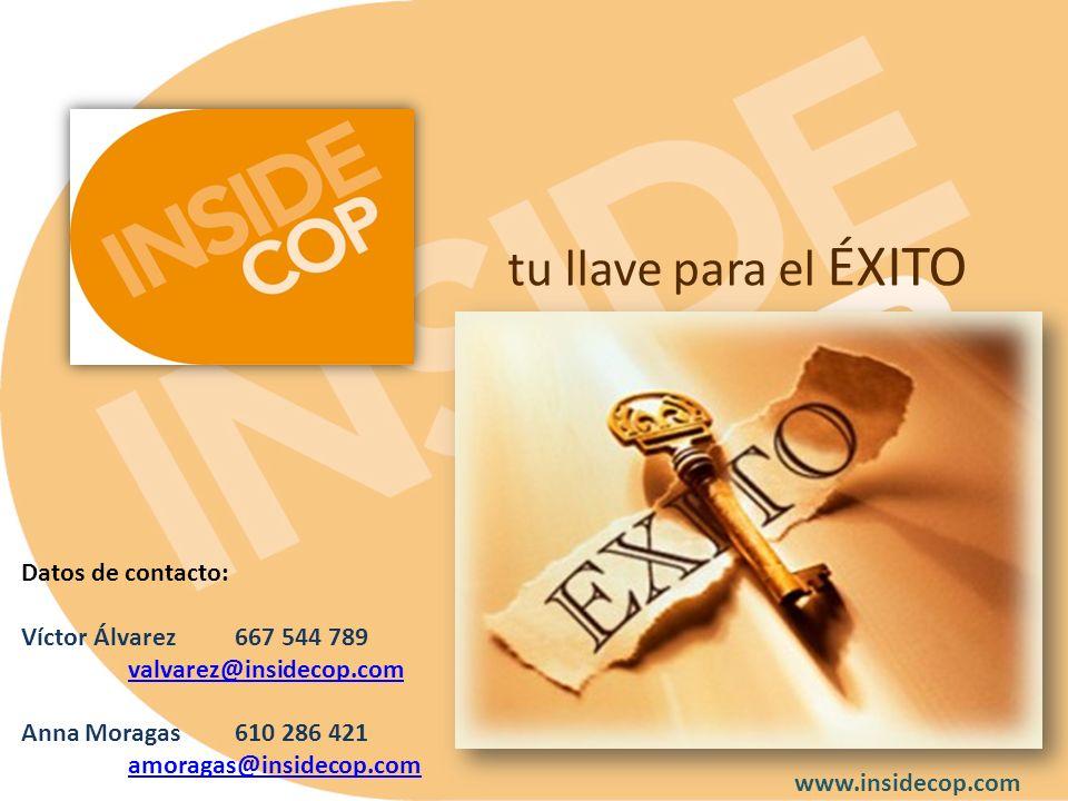 tu llave para el ÉXITO Datos de contacto: Víctor Álvarez667 544 789 valvarez@insidecop.com valvarez@insidecop.com Anna Moragas610 286 421 amoragas@ins