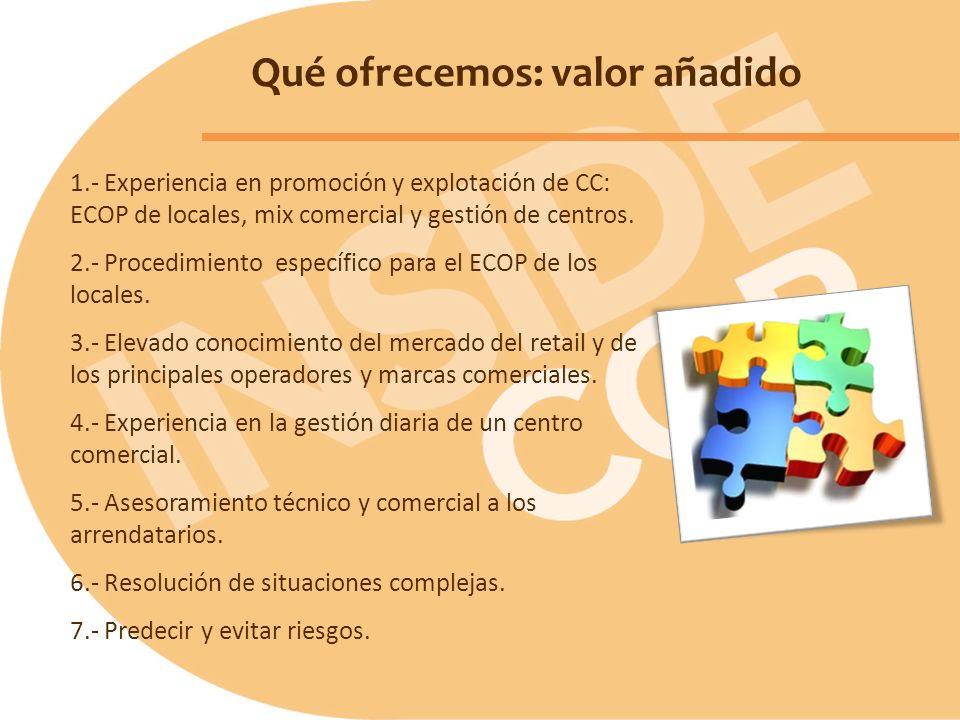 Qué ofrecemos: valor añadido 1.- Experiencia en promoción y explotación de CC: ECOP de locales, mix comercial y gestión de centros. 2.- Procedimiento