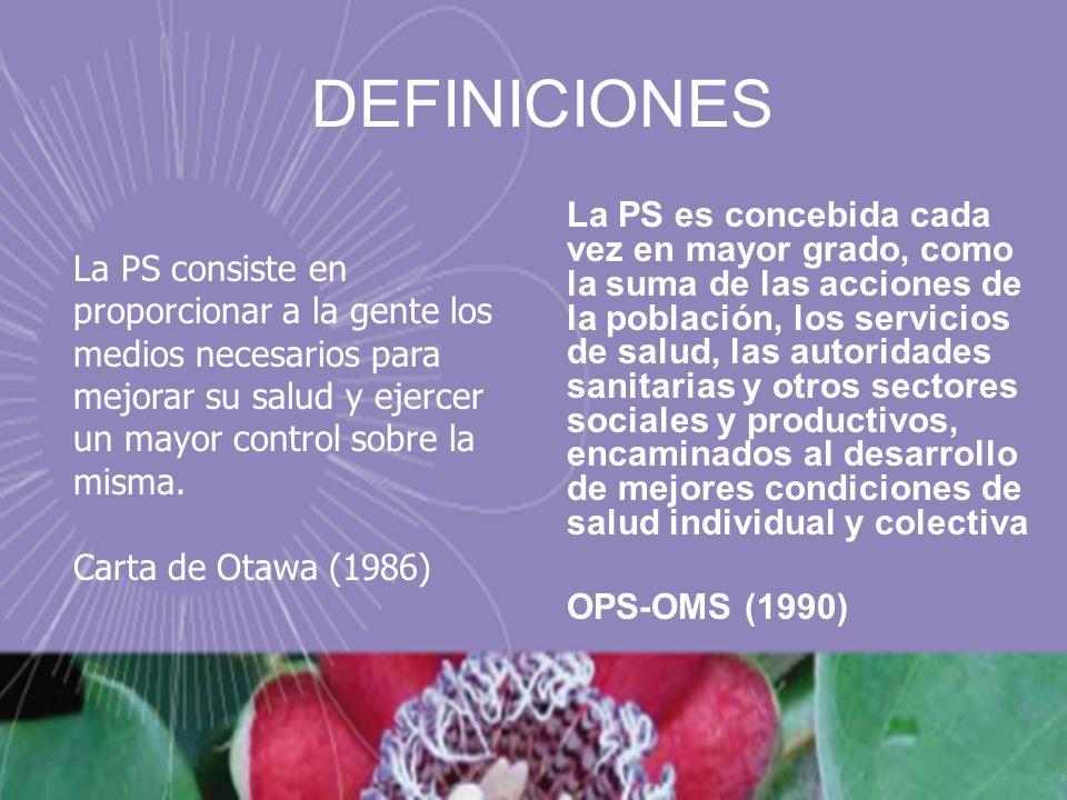 DEFINICIONES La PS es concebida cada vez en mayor grado, como la suma de las acciones de la población, los servicios de salud, las autoridades sanitar