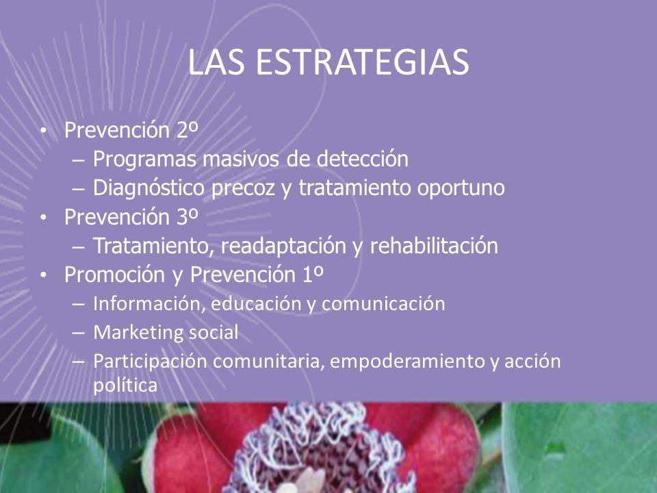 LAS ESTRATEGIAS Prevención 2º – Programas masivos de detección – Diagnóstico precoz y tratamiento oportuno Prevención 3º – Tratamiento, readaptación y
