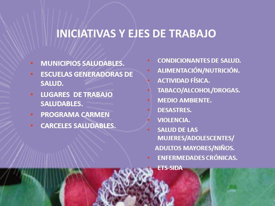 INICIATIVAS Y EJES DE TRABAJO MUNICIPIOS SALUDABLES. ESCUELAS GENERADORAS DE SALUD. LUGARES DE TRABAJO SALUDABLES. PROGRAMA CARMEN CARCELES SALUDABLES