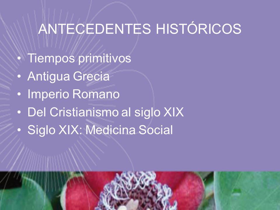 ANTECEDENTES HISTÓRICOS Tiempos primitivos Antigua Grecia Imperio Romano Del Cristianismo al siglo XIX Siglo XIX: Medicina Social