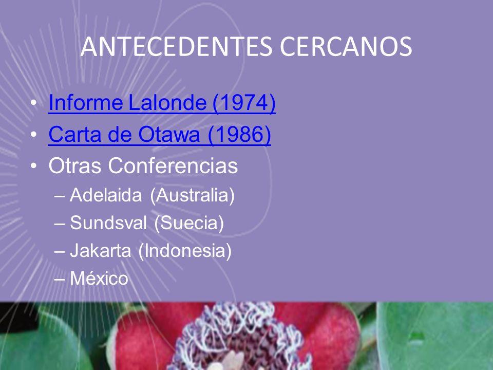 ANTECEDENTES CERCANOS Informe Lalonde (1974) Carta de Otawa (1986) Otras Conferencias –Adelaida (Australia) –Sundsval (Suecia) –Jakarta (Indonesia) –M