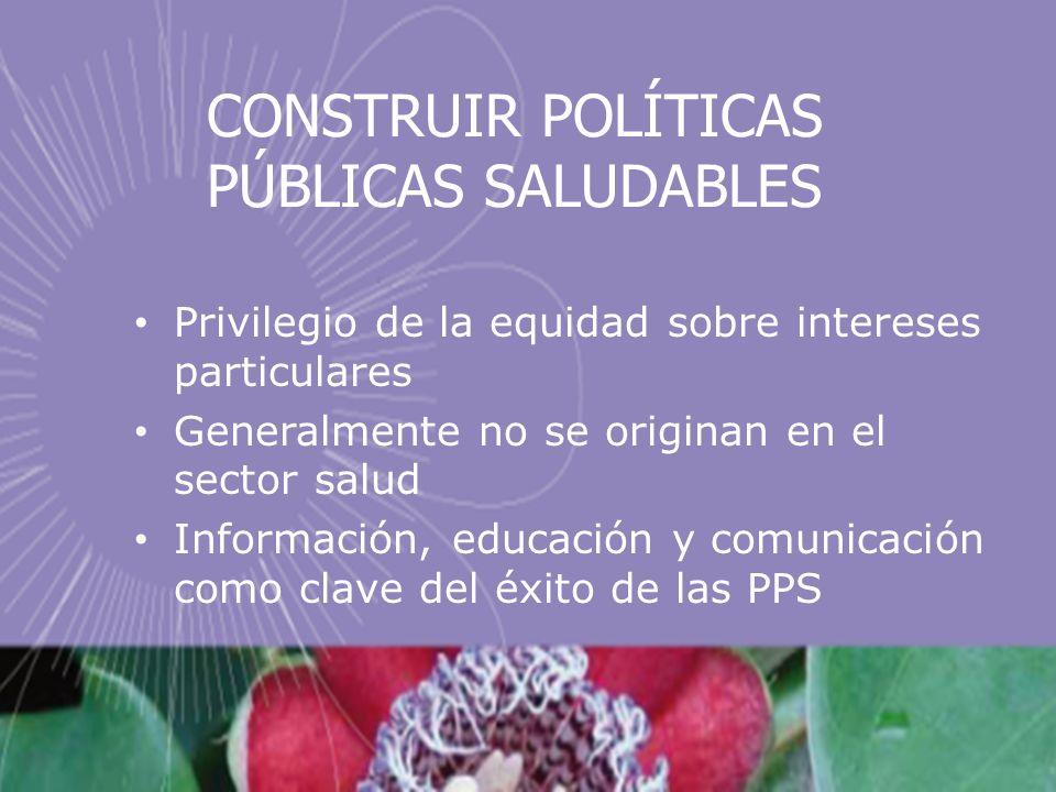 CONSTRUIR POLÍTICAS PÚBLICAS SALUDABLES Privilegio de la equidad sobre intereses particulares Generalmente no se originan en el sector salud Información, educación y comunicación como clave del éxito de las PPS
