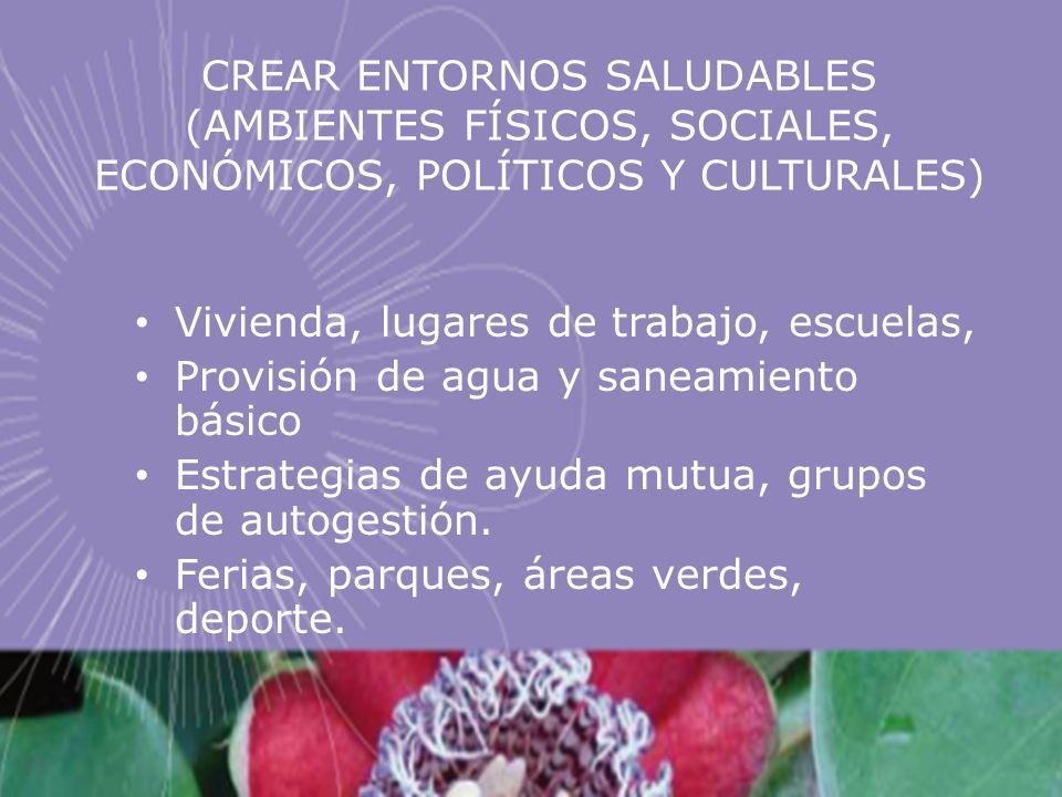 CREAR ENTORNOS SALUDABLES (AMBIENTES FÍSICOS, SOCIALES, ECONÓMICOS, POLÍTICOS Y CULTURALES) Vivienda, lugares de trabajo, escuelas, Provisión de agua