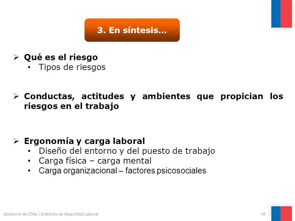 Gobierno de Chile | Instituto de Seguridad Laboral 16 3. En síntesis… Qué es el riesgo Tipos de riesgos Conductas, actitudes y ambientes que propician