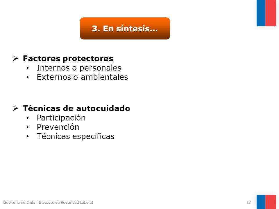 Gobierno de Chile | Instituto de Seguridad Laboral 17 3. En síntesis… Técnicas de autocuidado Participación Prevención Técnicas específicas Factores p