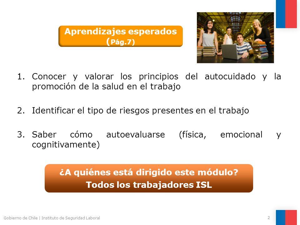 2 Gobierno de Chile | Instituto de Seguridad Laboral 1.Conocer y valorar los principios del autocuidado y la promoción de la salud en el trabajo 2.Ide