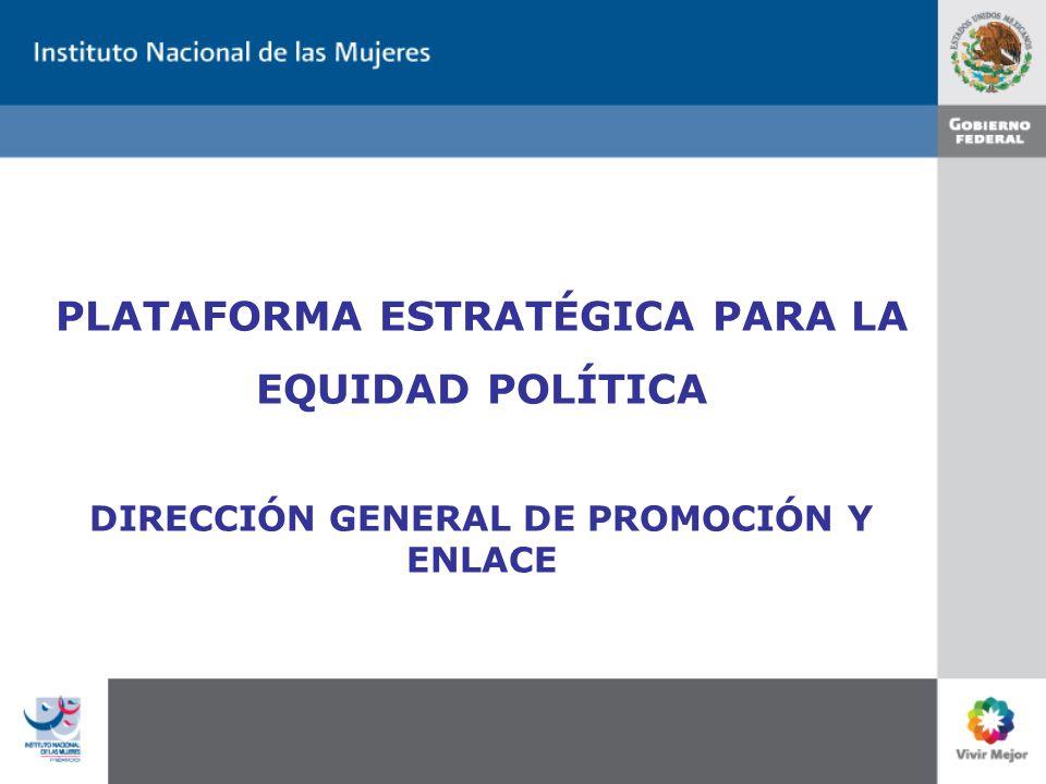 PLATAFORMA ESTRATÉGICA PARA LA EQUIDAD POLÍTICA DIRECCIÓN GENERAL DE PROMOCIÓN Y ENLACE