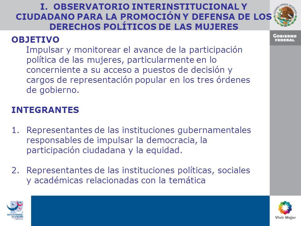 OBJETIVO Impulsar y monitorear el avance de la participación política de las mujeres, particularmente en lo concerniente a su acceso a puestos de decisión y cargos de representación popular en los tres órdenes de gobierno.