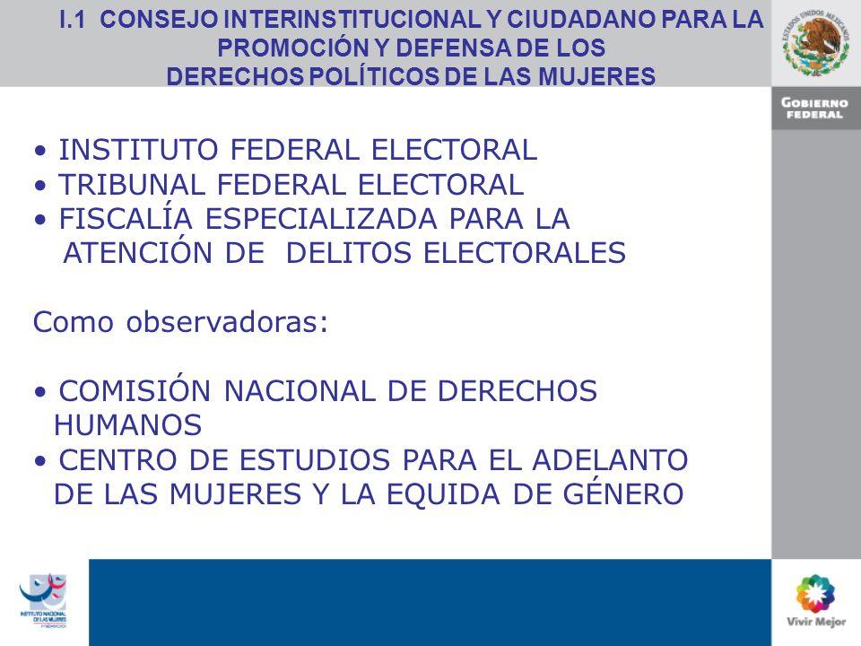 INSTITUTO FEDERAL ELECTORAL TRIBUNAL FEDERAL ELECTORAL FISCALÍA ESPECIALIZADA PARA LA ATENCIÓN DE DELITOS ELECTORALES Como observadoras: COMISIÓN NACIONAL DE DERECHOS HUMANOS CENTRO DE ESTUDIOS PARA EL ADELANTO DE LAS MUJERES Y LA EQUIDA DE GÉNERO I.1 CONSEJO INTERINSTITUCIONAL Y CIUDADANO PARA LA PROMOCIÓN Y DEFENSA DE LOS DERECHOS POLÍTICOS DE LAS MUJERES