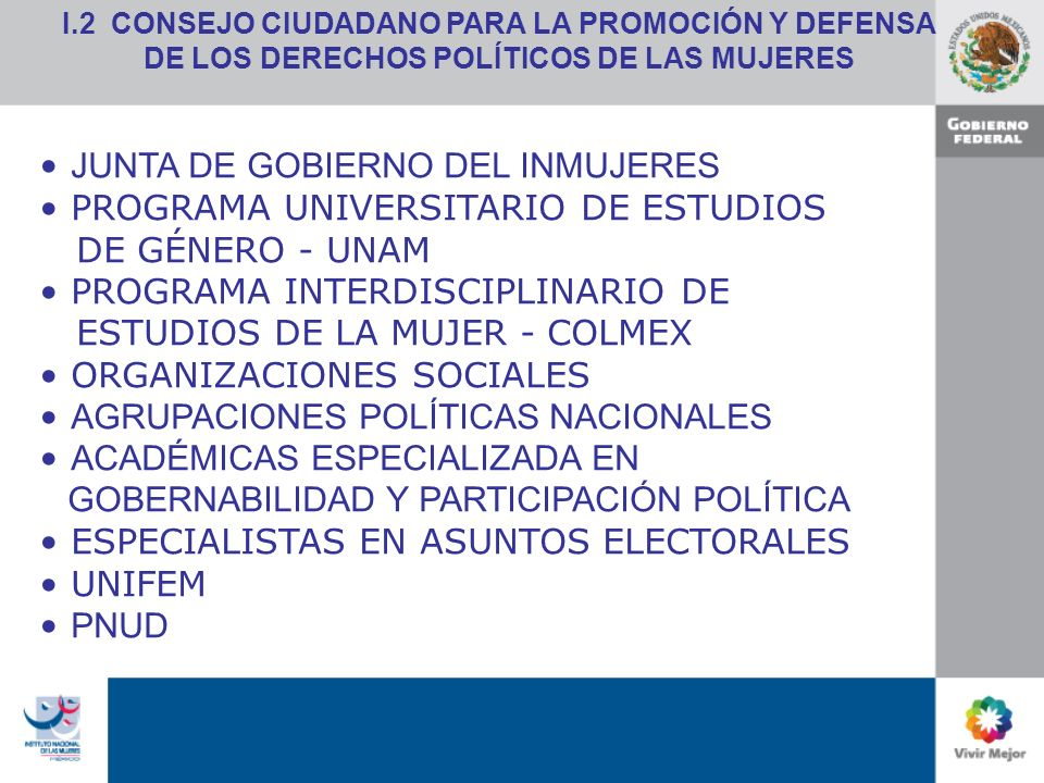 JUNTA DE GOBIERNO DEL INMUJERES PROGRAMA UNIVERSITARIO DE ESTUDIOS DE GÉNERO - UNAM PROGRAMA INTERDISCIPLINARIO DE ESTUDIOS DE LA MUJER - COLMEX ORGANIZACIONES SOCIALES AGRUPACIONES POLÍTICAS NACIONALES ACADÉMICAS ESPECIALIZADA EN GOBERNABILIDAD Y PARTICIPACIÓN POLÍTICA ESPECIALISTAS EN ASUNTOS ELECTORALES UNIFEM PNUD I.2 CONSEJO CIUDADANO PARA LA PROMOCIÓN Y DEFENSA DE LOS DERECHOS POLÍTICOS DE LAS MUJERES