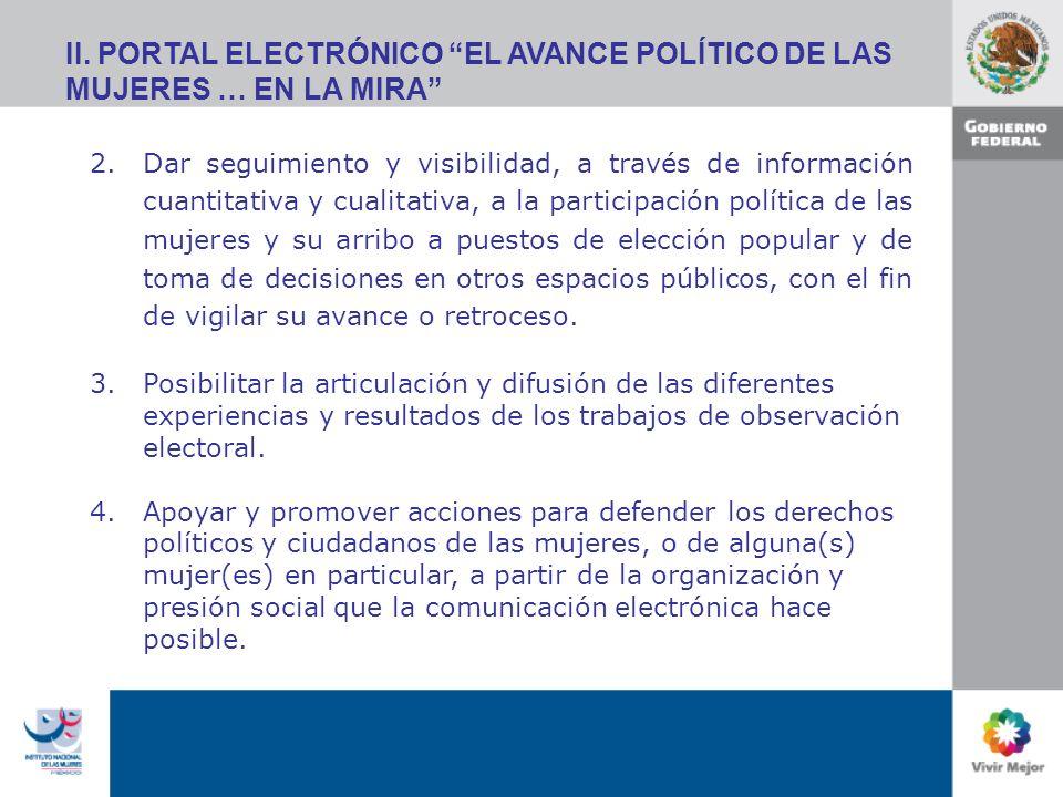 II. PORTAL ELECTRÓNICO EL AVANCE POLÍTICO DE LAS MUJERES … EN LA MIRA 2.Dar seguimiento y visibilidad, a través de información cuantitativa y cualitat