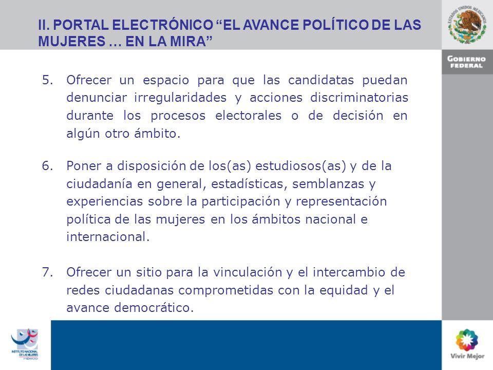II. PORTAL ELECTRÓNICO EL AVANCE POLÍTICO DE LAS MUJERES … EN LA MIRA 5.Ofrecer un espacio para que las candidatas puedan denunciar irregularidades y