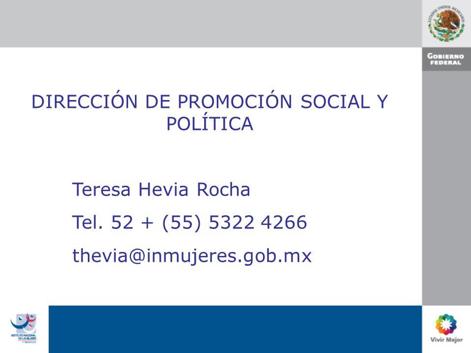 DIRECCIÓN DE PROMOCIÓN SOCIAL Y POLÍTICA Teresa Hevia Rocha Tel.