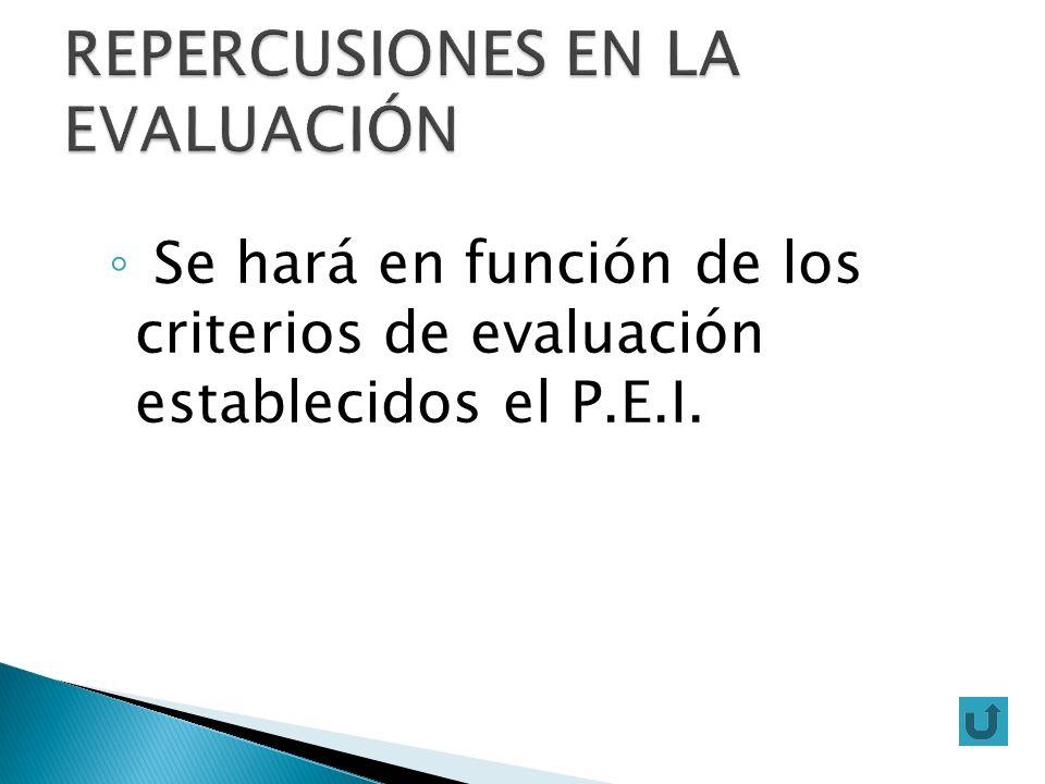 Se hará en función de los criterios de evaluación establecidos el P.E.I.
