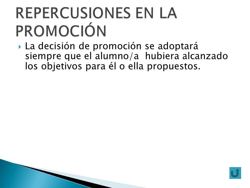 La decisión de promoción se adoptará siempre que el alumno/a hubiera alcanzado los objetivos para él o ella propuestos.