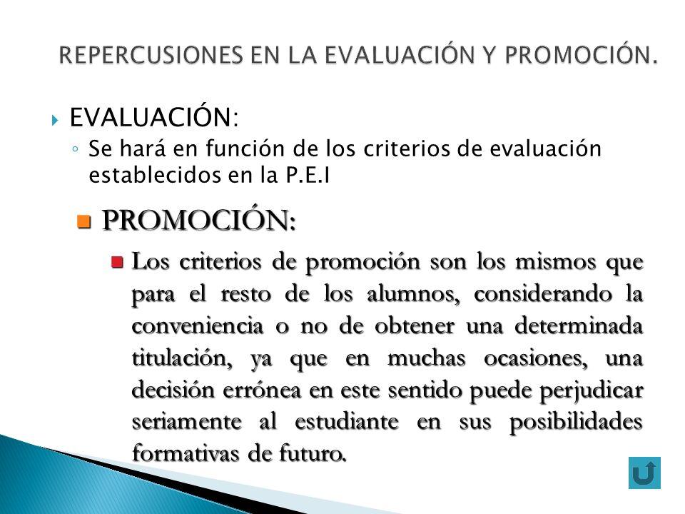 EVALUACIÓN: Se hará en función de los criterios de evaluación establecidos en la P.E.I PROMOCIÓN: PROMOCIÓN: Los criterios de promoción son los mismos