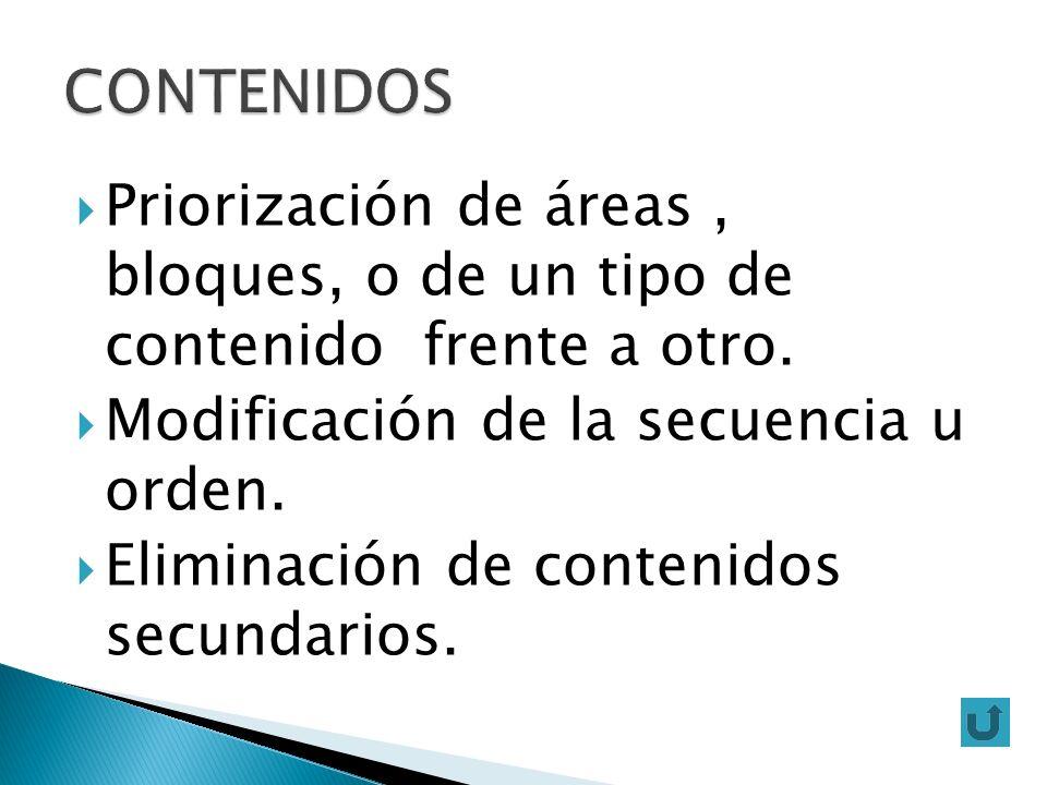 Priorización de áreas, bloques, o de un tipo de contenido frente a otro. Modificación de la secuencia u orden. Eliminación de contenidos secundarios.