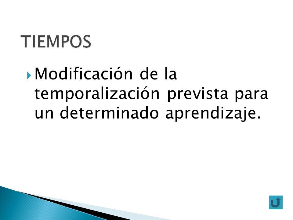 Modificación de la temporalización prevista para un determinado aprendizaje.