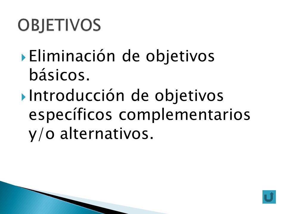 Eliminación de objetivos básicos. Introducción de objetivos específicos complementarios y/o alternativos.