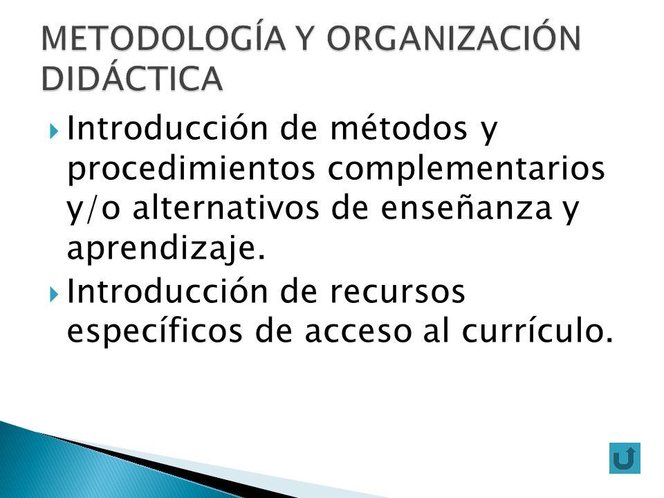 Introducción de métodos y procedimientos complementarios y/o alternativos de enseñanza y aprendizaje. Introducción de recursos específicos de acceso a