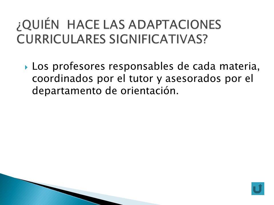 Los profesores responsables de cada materia, coordinados por el tutor y asesorados por el departamento de orientación.
