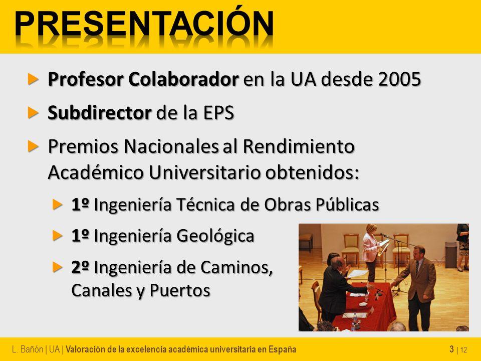 Profesor Colaborador en la UA desde 2005 Profesor Colaborador en la UA desde 2005 Subdirector de la EPS Subdirector de la EPS Premios Nacionales al Re