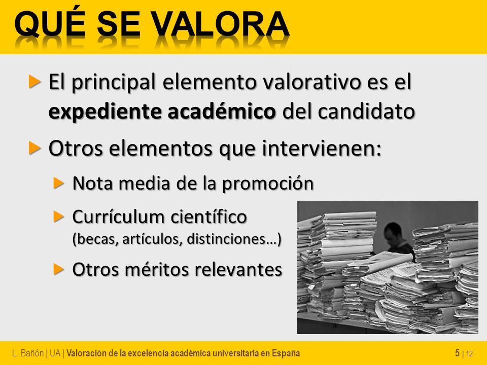 El principal elemento valorativo es el expediente académico del candidato El principal elemento valorativo es el expediente académico del candidato Ot