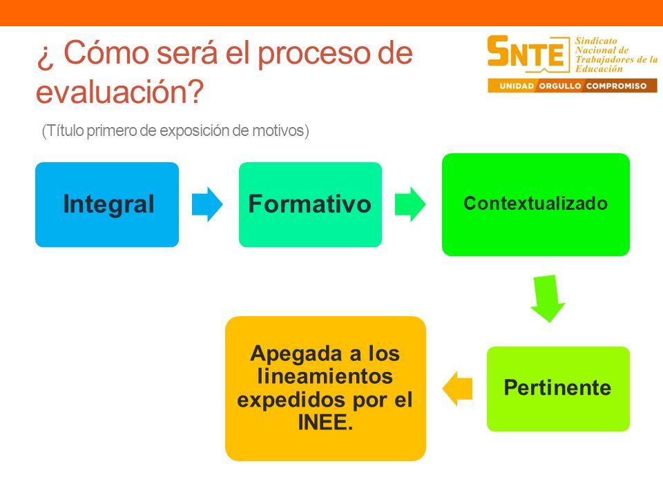 ¿ Cómo será el proceso de evaluación? (Título primero de exposición de motivos) Integral Formativo Contextualizado Pertinente Apegada a los lineamient