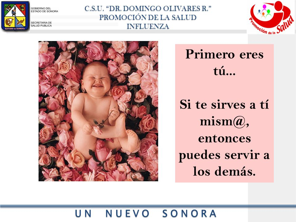 C.S.U.DR. DOMINGO OLIVARES R. PROMOCIÓN DE LA SALUD INFLUENZA UN NUEVO SONORA Primero eres tú...