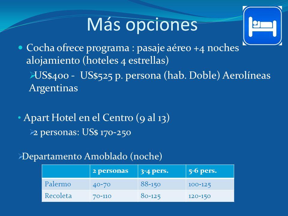 Más opciones Cocha ofrece programa : pasaje aéreo +4 noches alojamiento (hoteles 4 estrellas) US$400 - US$525 p. persona (hab. Doble) Aerolíneas Argen