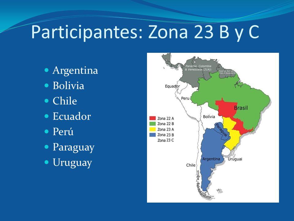 Participantes: Zona 23 B y C Argentina Bolivia Chile Ecuador Perú Paraguay Uruguay
