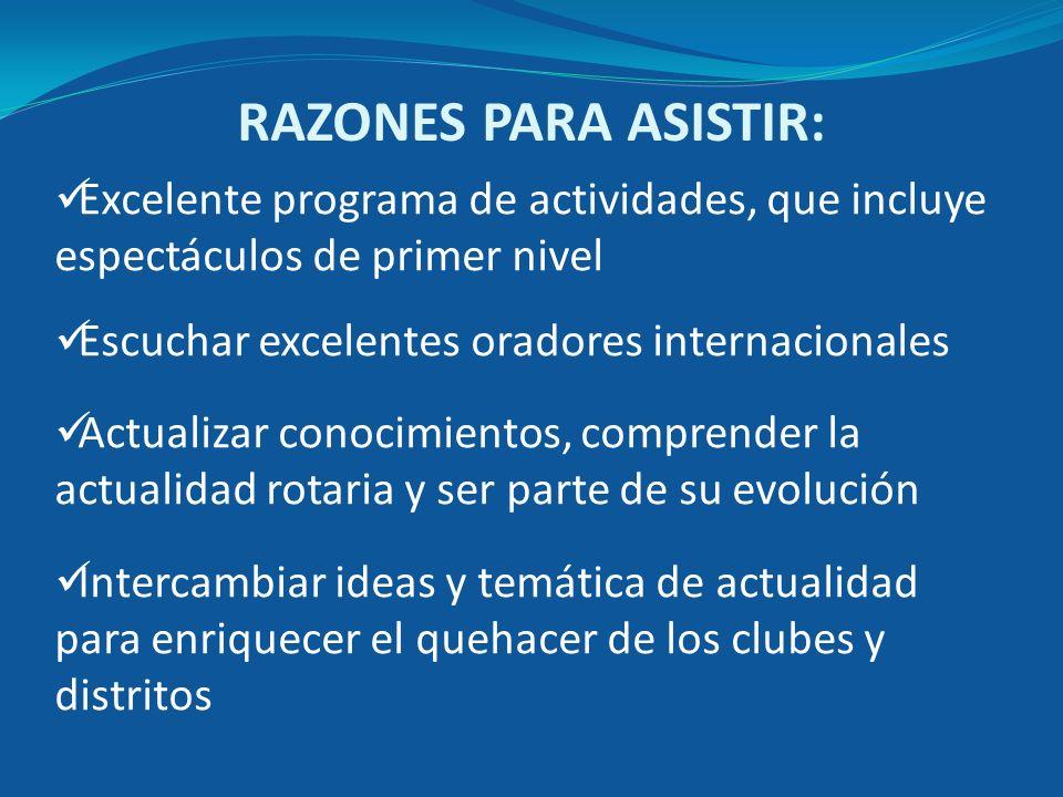 RAZONES PARA ASISTIR: Excelente programa de actividades, que incluye espectáculos de primer nivel Escuchar excelentes oradores internacionales Actuali