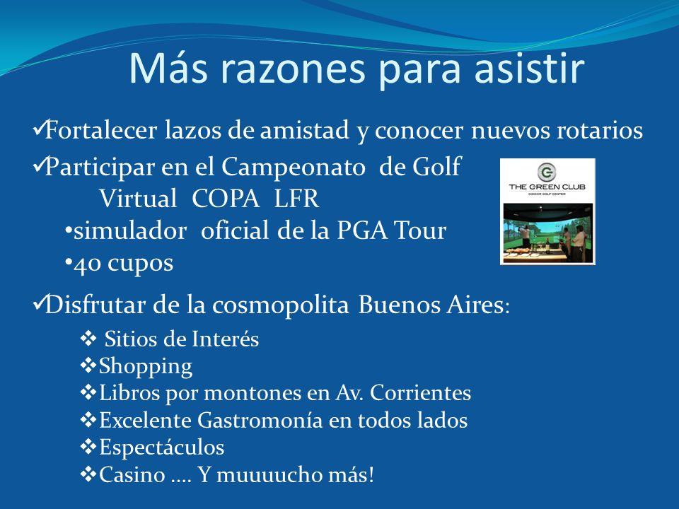 Más razones para asistir Fortalecer lazos de amistad y conocer nuevos rotarios Participar en el Campeonato de Golf Virtual COPA LFR simulador oficial