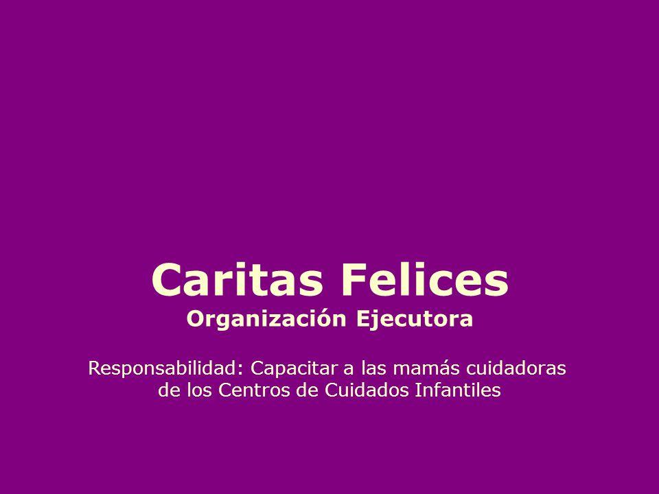 Caritas Felices Organización Ejecutora Responsabilidad: Capacitar a las mamás cuidadoras de los Centros de Cuidados Infantiles