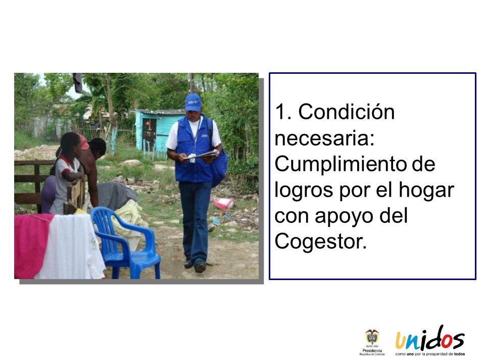 1. Condición necesaria: Cumplimiento de logros por el hogar con apoyo del Cogestor.