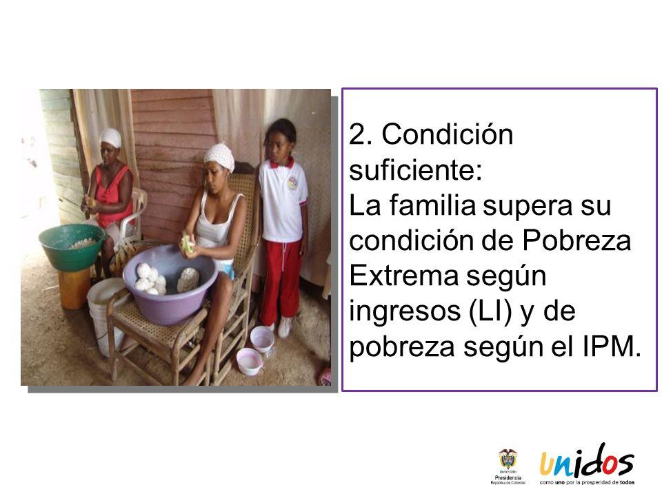 2. Condición suficiente: La familia supera su condición de Pobreza Extrema según ingresos (LI) y de pobreza según el IPM.