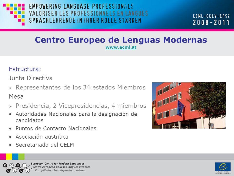 Centro Europeo de Lenguas Modernas www.ecml.at www.ecml.at Estructura: Junta Directiva Representantes de los 34 estados Miembros Mesa Presidencia, 2 Vicepresidencias, 4 miembros Autoridades Nacionales para la designación de candidatos Puntos de Contacto Nacionales Asociación austríaca Secretariado del CELM