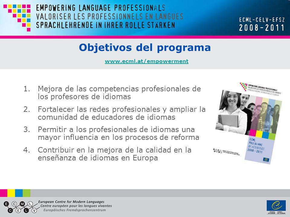 Objetivos del programa www.ecml.at/empowerment www.ecml.at/empowerment 1.Mejora de las competencias profesionales de los profesores de idiomas 2.Fortalecer las redes profesionales y ampliar la comunidad de educadores de idiomas 3.Permitir a los profesionales de idiomas una mayor influencia en los procesos de reforma 4.Contribuir en la mejora de la calidad en la enseñanza de idiomas en Europa