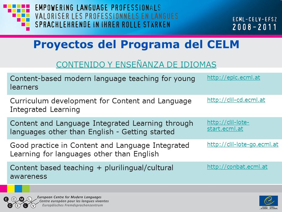 Content-based modern language teaching for young learners http://eplc.ecml.at Curriculum development for Content and Language Integrated Learning http://clil-cd.ecml.at Content and Language Integrated Learning through languages other than English - Getting started http://clil-lote- start.ecml.at Good practice in Content and Language Integrated Learning for languages other than English http://clil-lote-go.ecml.at Content based teaching + plurilingual/cultural awareness http://conbat.ecml.at Proyectos del Programa del CELM CONTENIDO Y ENSEÑANZA DE IDIOMAS CONTENIDO Y ENSEÑANZA DE IDIOMAS